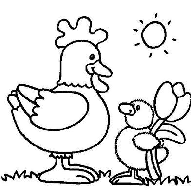 Imagens de galinhas e pintainhos para imprimir e colorir 2