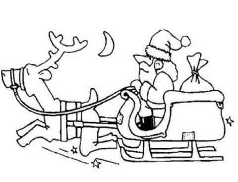 Renas com o Pai Natal para colorir 1