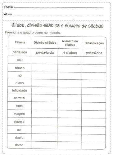Atividade de silabas primeiro ano