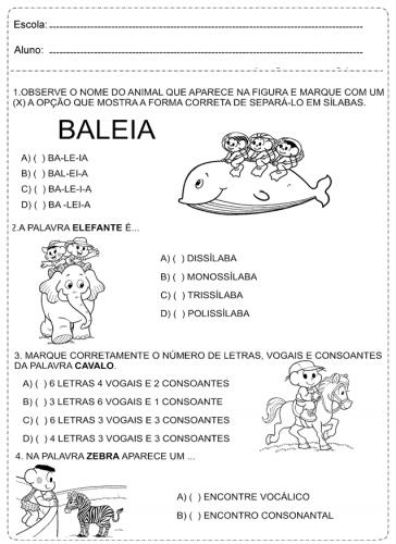 Vogais e consoantes para o 1° ano