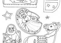 Presépio de Papel para colorir e montar com Dobraduras