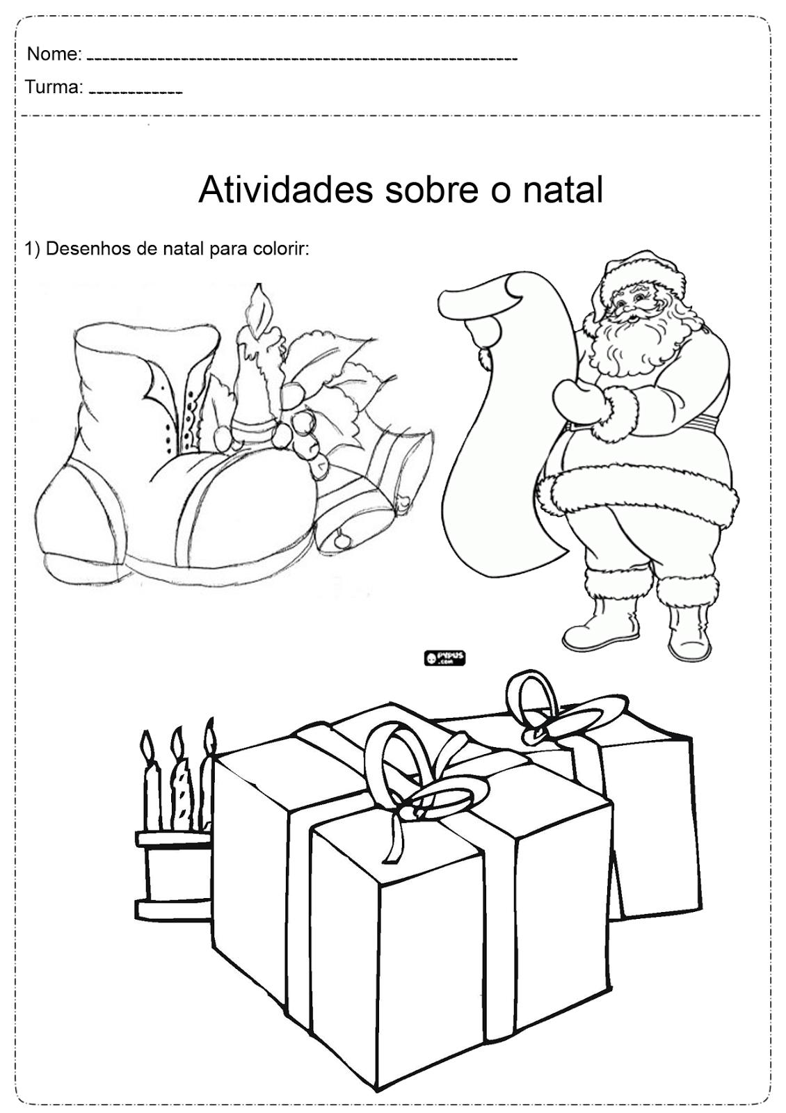 Desenhos Natal Colorir 11 Fichas E Atividades