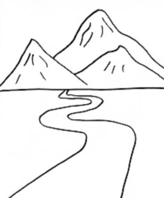 Imagens de montanhas para imprimir e colorir