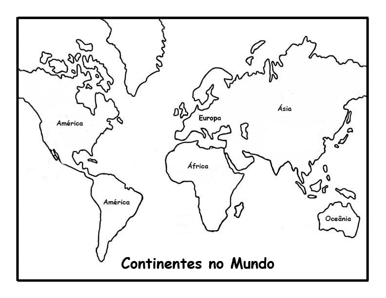 Continentes do planeta Terra para pintar