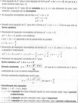 Equações de 2º grau - Resumo