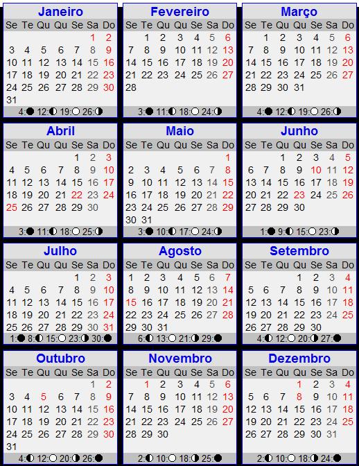 Calendário para 2011 com feriados