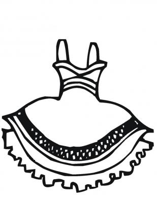 Imagens de vestidos para imprimir e colorir - 1