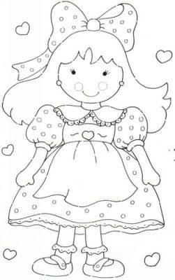 Desenhos de bonecas para imprimir e colorir