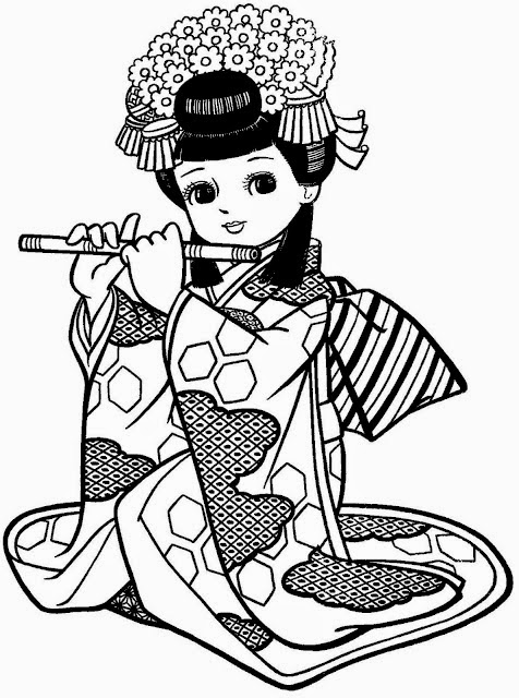 Meninas japonesas para imprimir e colorir
