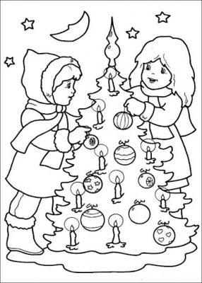 Árvores de Natal para imprimir e colorir