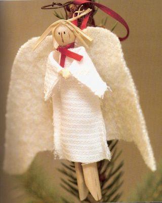 Anjo de Natal com mola de Madeira