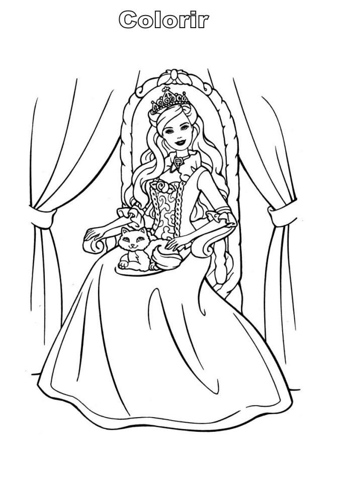 Desenhos da Barbie moda e magia para imprimir e colorir - Fichas e ...