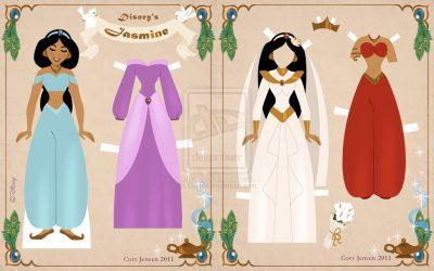 Princesas Disney para imprimir em cartolina, recortar e vestir