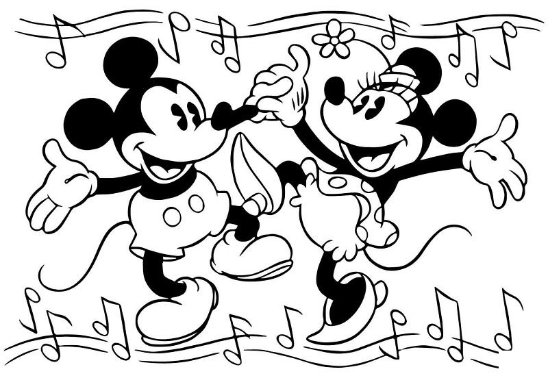 Imagens da Minnie e do Mickey para imprimir e colorir