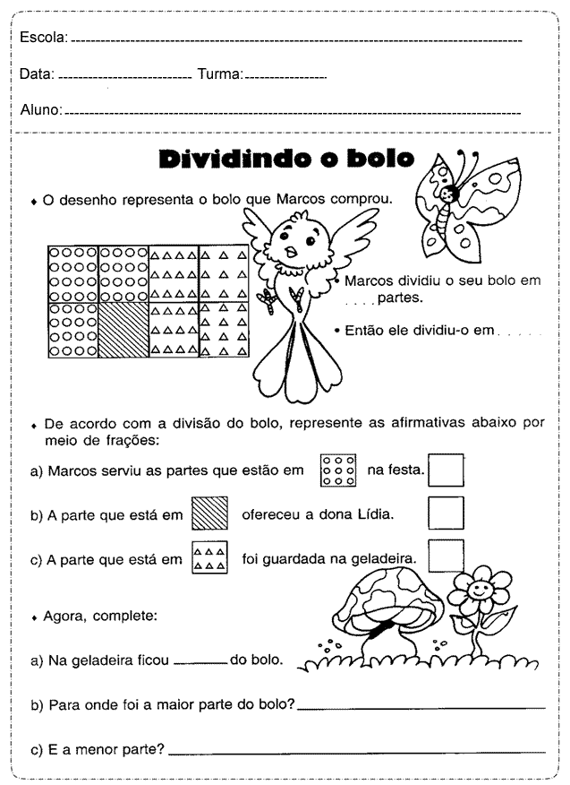 Fichas de trabalho de Matematica para o 5º ano