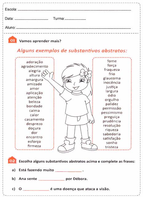 Substantivo abstrato e substantivo concreto