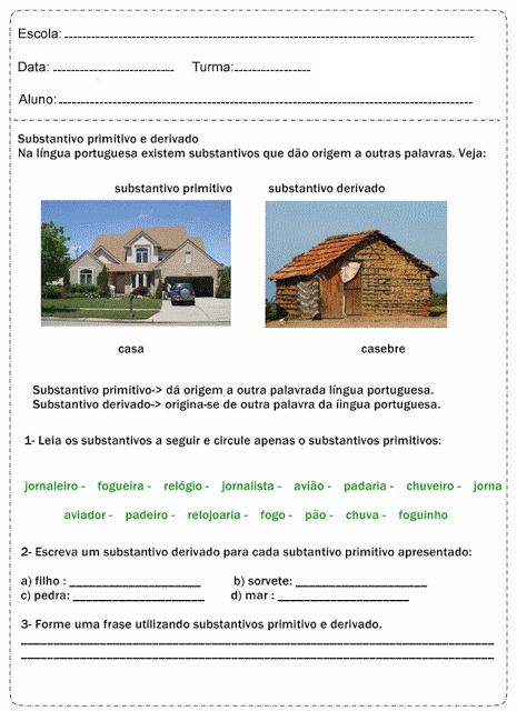 Atividades De Português Com Substantivos Educação Online