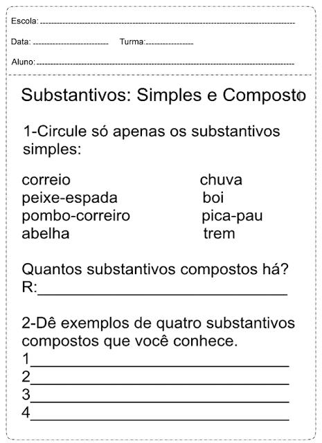 Tipos de substantivos com exemplos