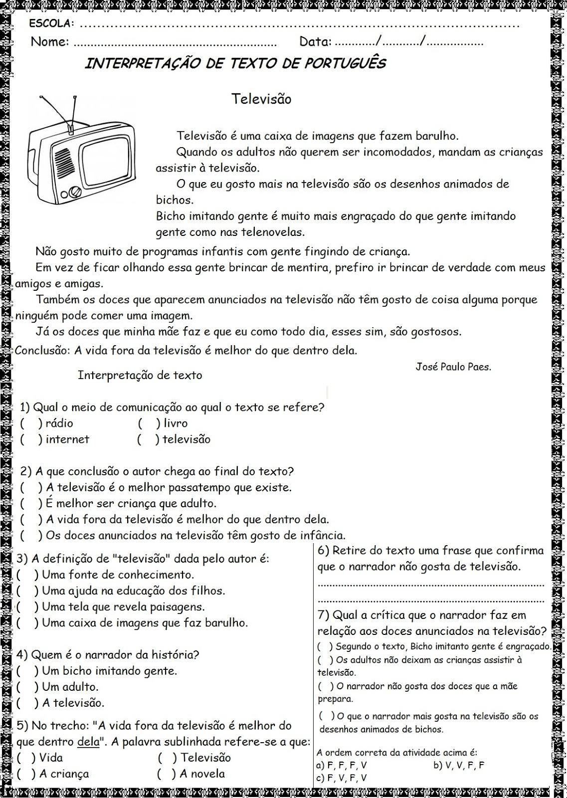 Favoritos Textos para interpretação - 4º ano do Ensino fundamental - 1  NS34