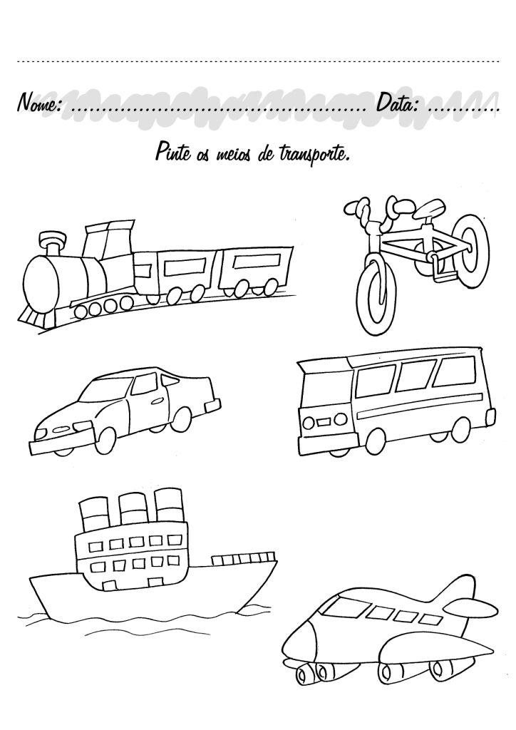 Excepcional Atividades pré-escolar Meios de Transporte - Fichas e Atividades UA84