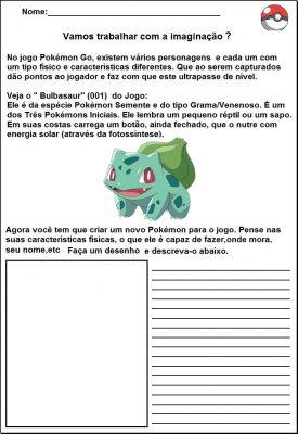 Atividades escolares com Pokemon Go - Português