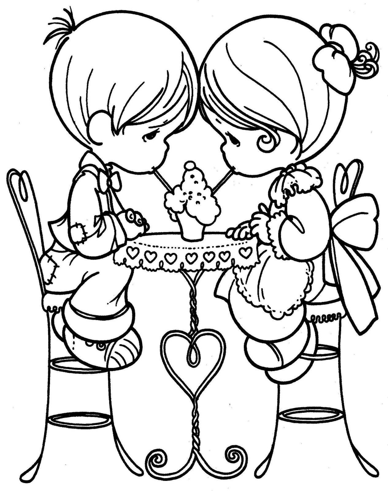 Desenhos De Amor Para Imprimir E Pintar Namorados Tomando Sorvete