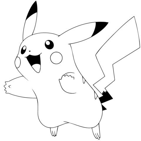 printable how to draw a cute pikachu