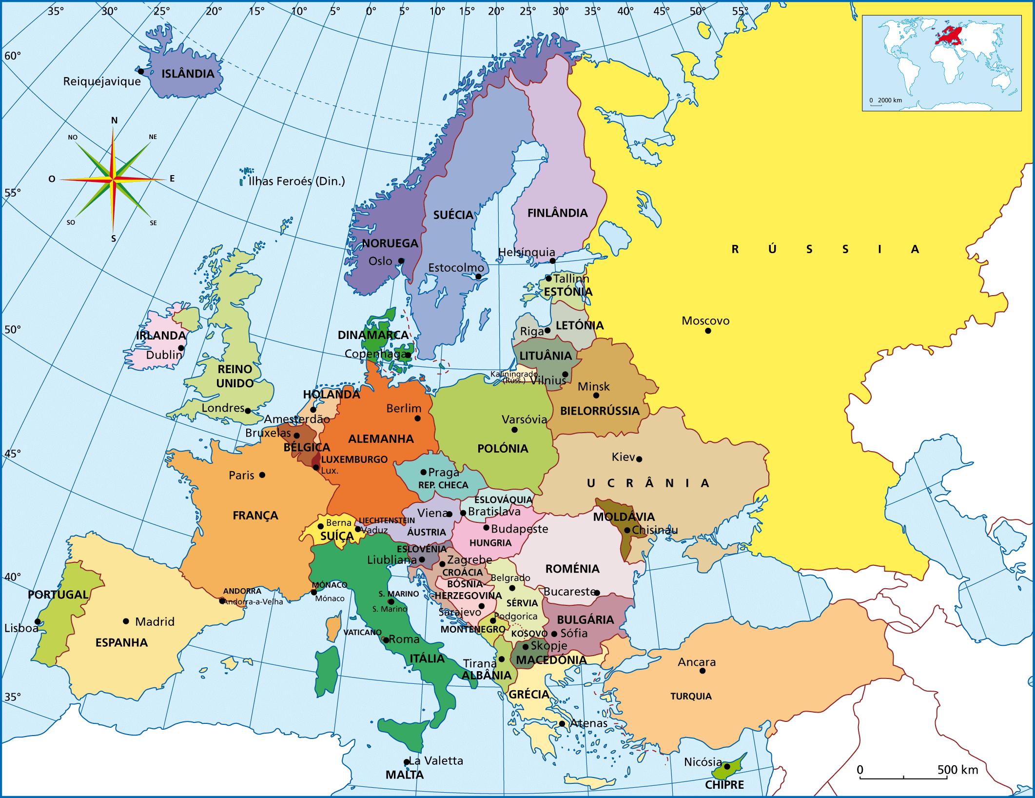 mapa europa em portugues com capitais Mapa Europa capitais   Fichas e Atividades mapa europa em portugues com capitais