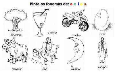 Ficha de Português para o 1º ano - Ditongos e Vogais
