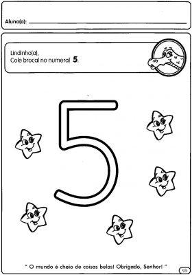 Atividades com numerais de 1 a 5 para a Educação Pré-Escolar