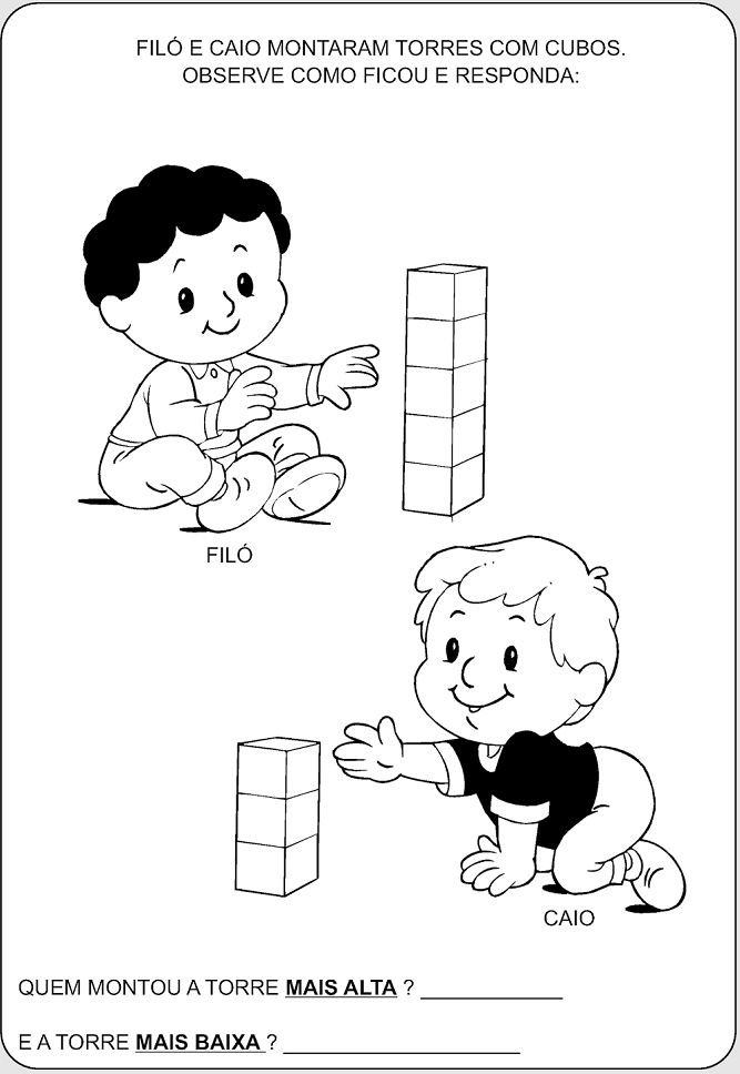 Educação infantil - Maior ou menor