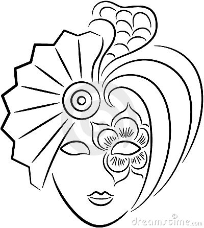 Máscaras de Carnaval para imprimir e colorir estilo Veneza