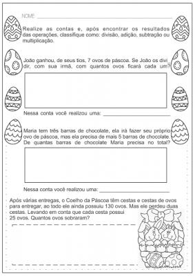 Atividades de Alfabetização e Matemática sobre a Páscoa
