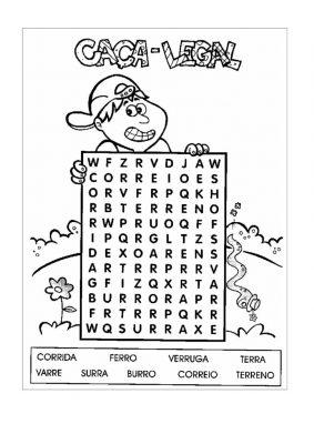 10 caça palavras e cruzadinhas para educação infantil