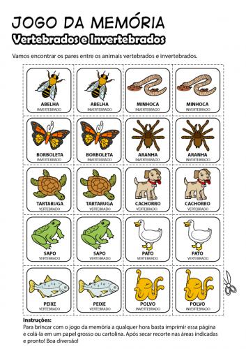 Animais vertebrados e invertebrados - Atividade