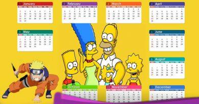 Calendrio de 2020 com seus personagens favoritos dos desenhos animados